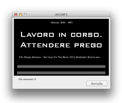 convertitore mp3 mac: schermata di attesa